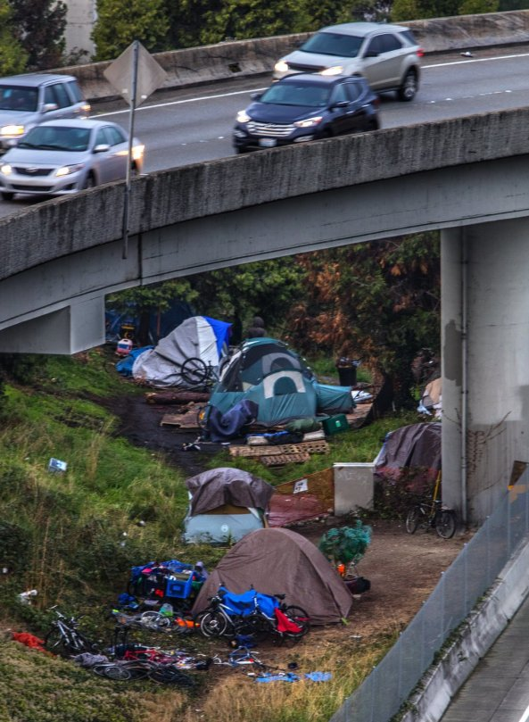 Friday October 23, 2015. Squaters camping out under the Highway 5 overpass to Highway 90 in Seattle.